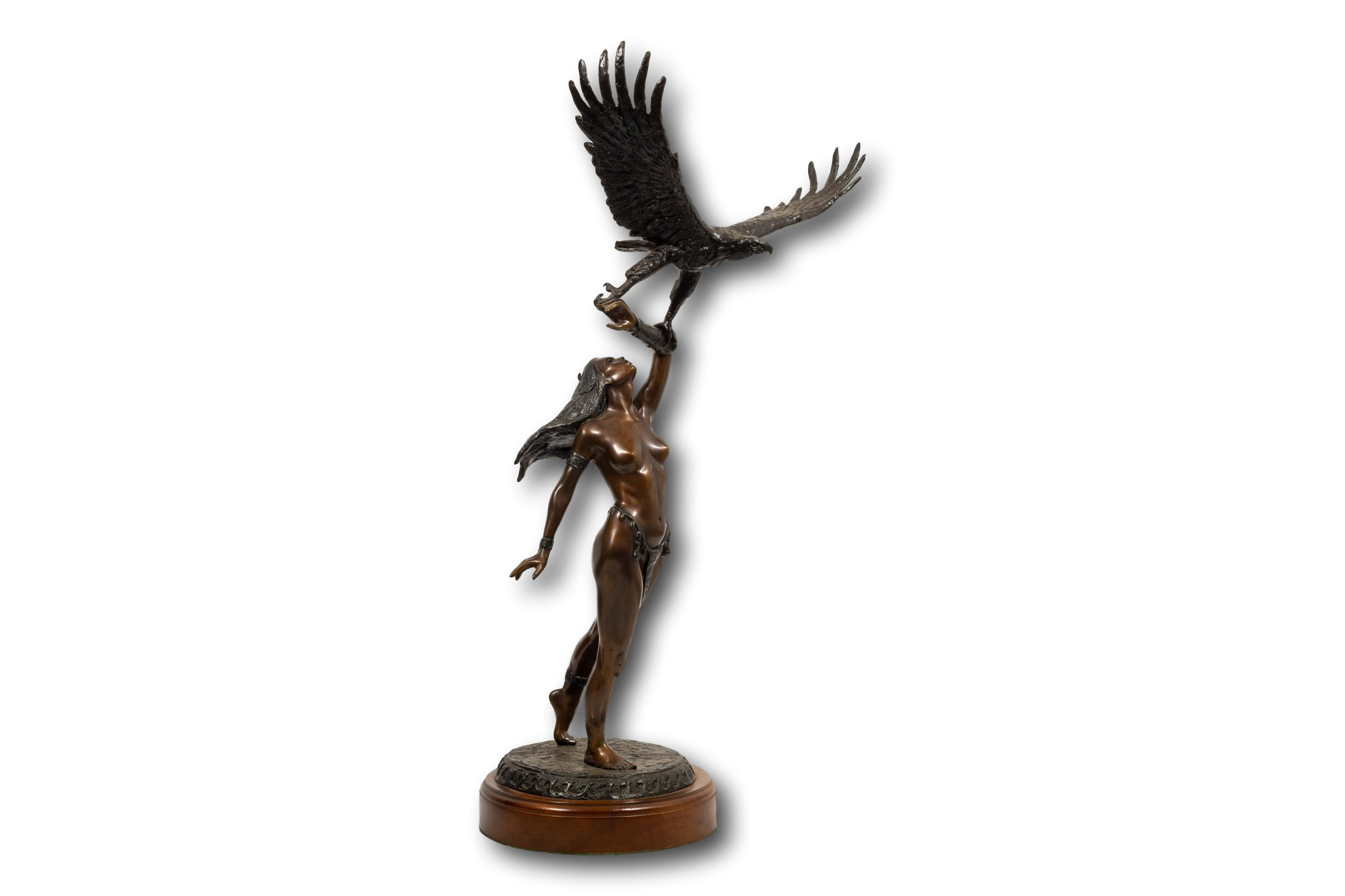 """Tienie Pritchard (SA, born 1938) Bronze, """"Gift of Flight"""", Signed & Numbered 10/15, 71cm including base"""