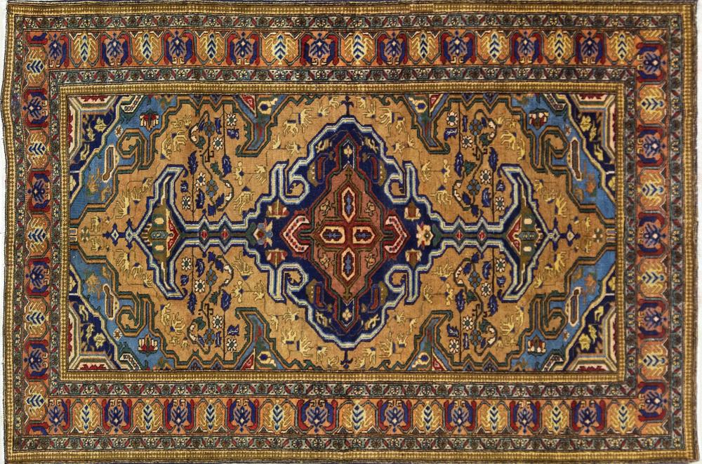 A Persian Hand Knotted Ardebil Rug, 202 x 136