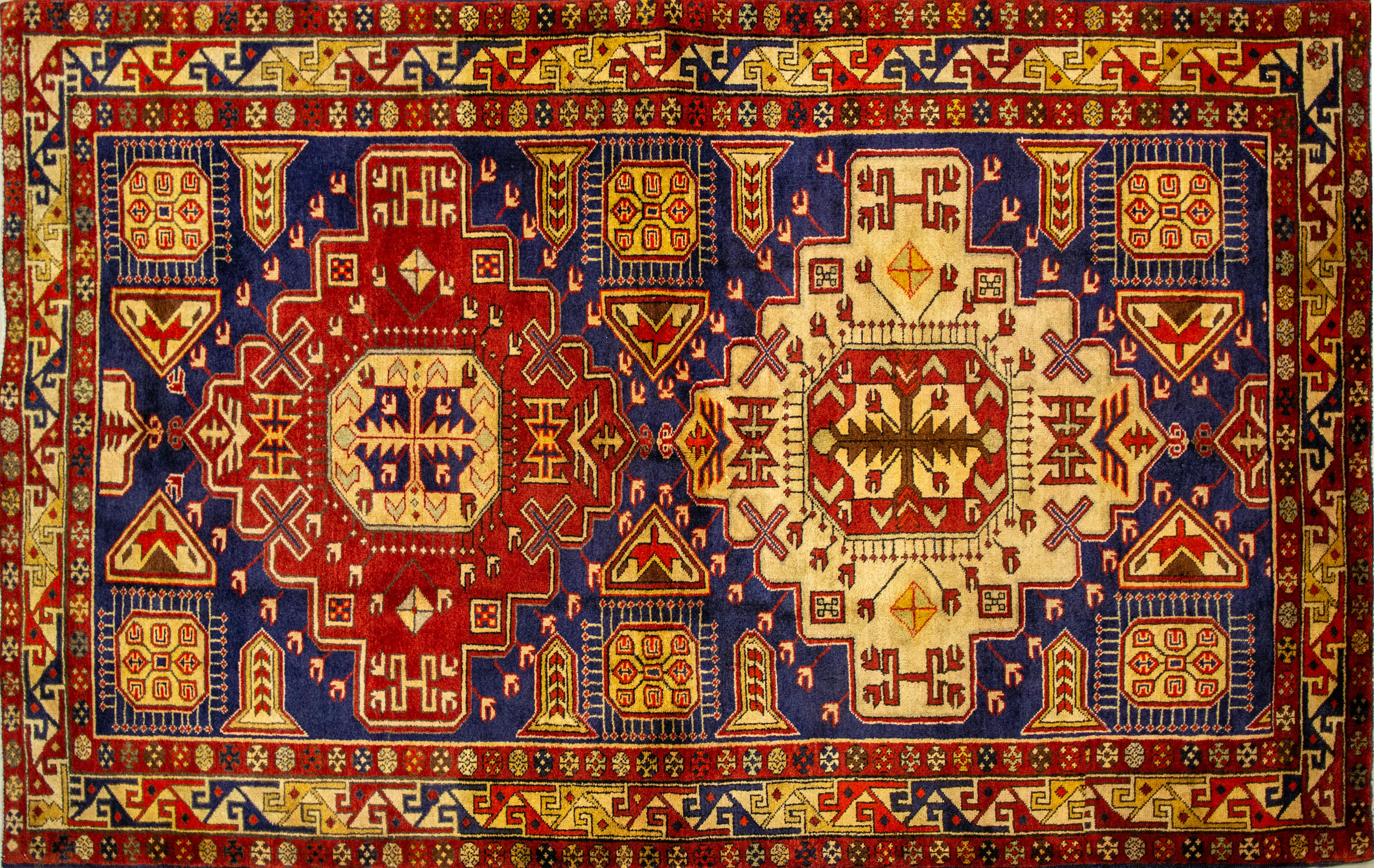 A Persian Hand Knotted Ardebil Rug, 213 x 130