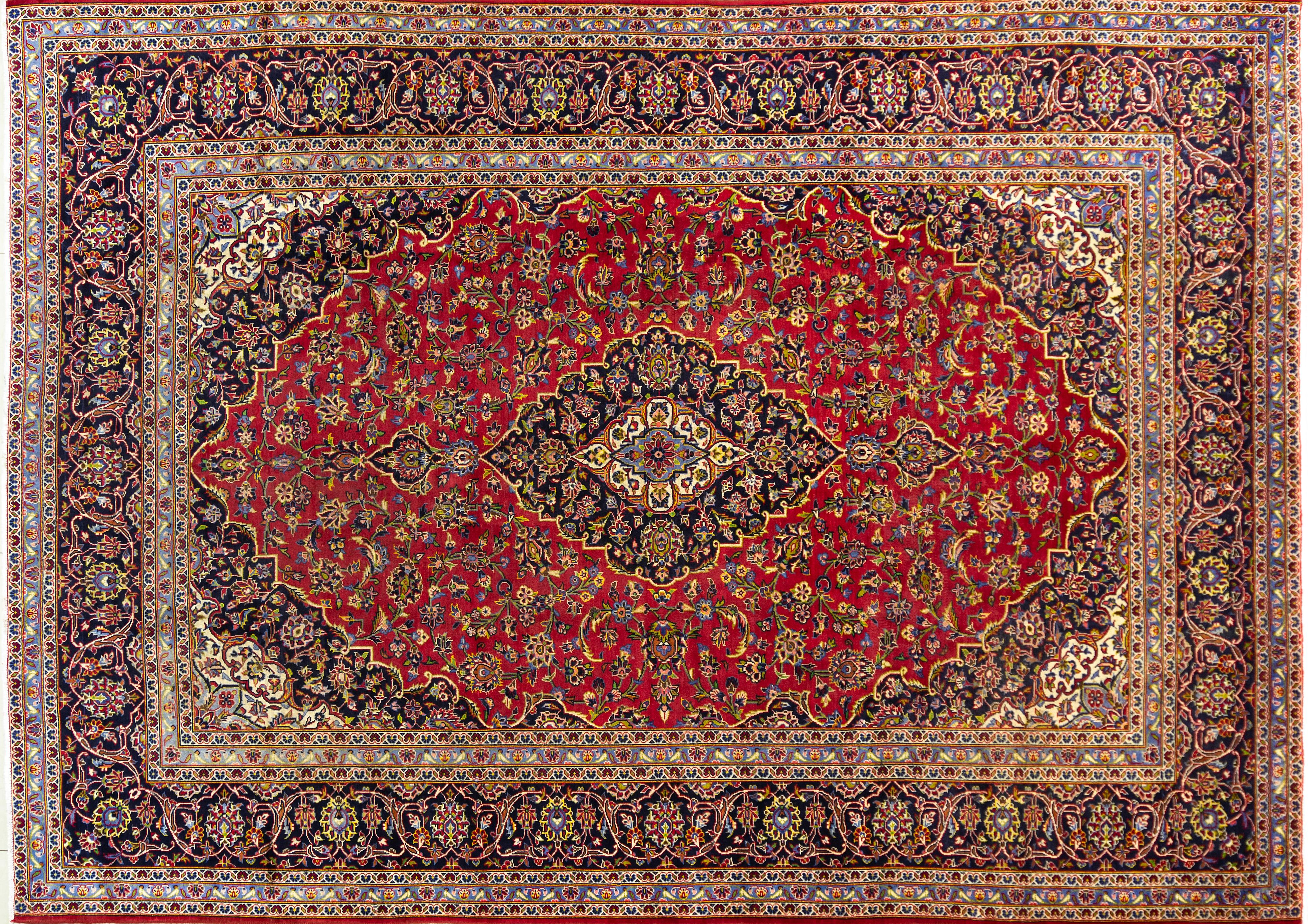 A Persian Hand Knotted Kashan Carpet, 342 x 245
