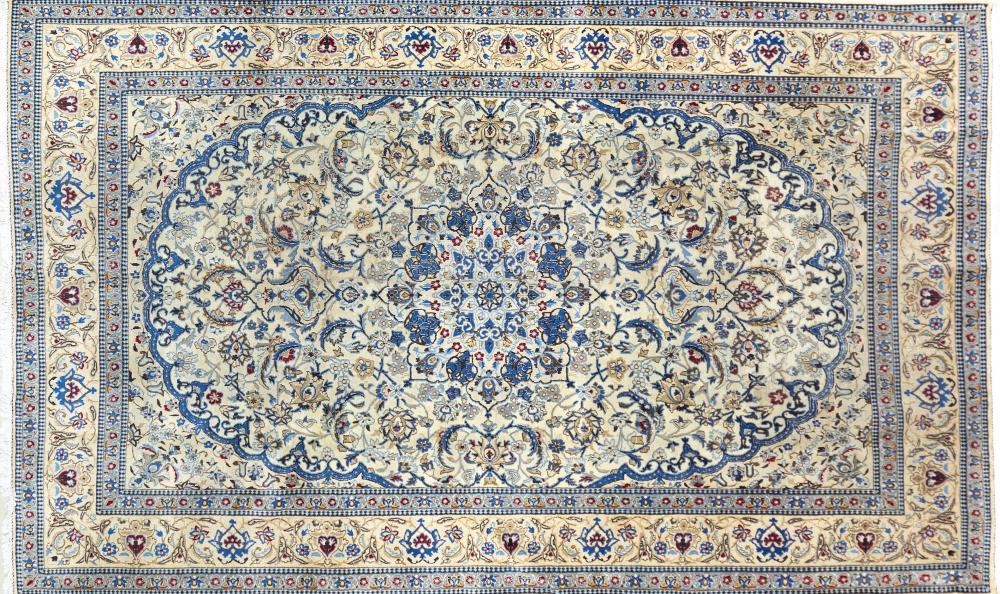 A Persian Hand Knotted Nain Carpet, 328 x 204