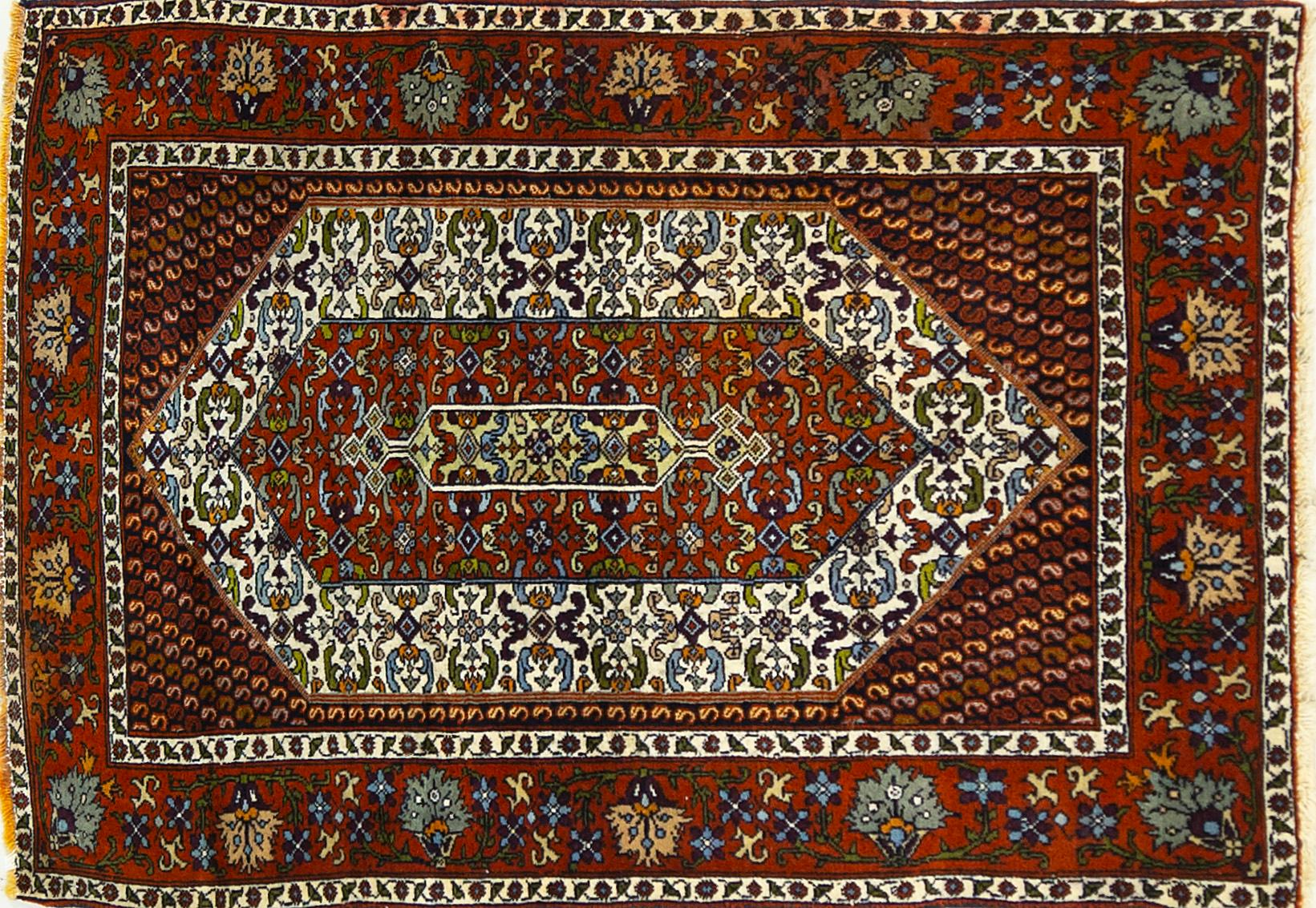 A Persian Hand Knotted Kurdi Rug, 139 x 95
