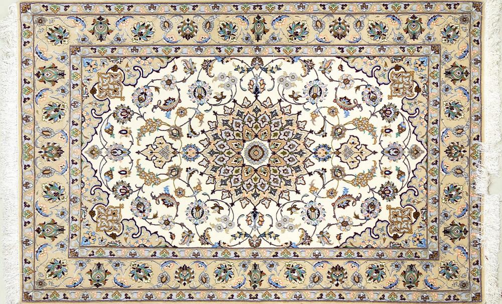 A Persian Hand Knotted Silk and Wool Isfahan Rug, 163 x 110