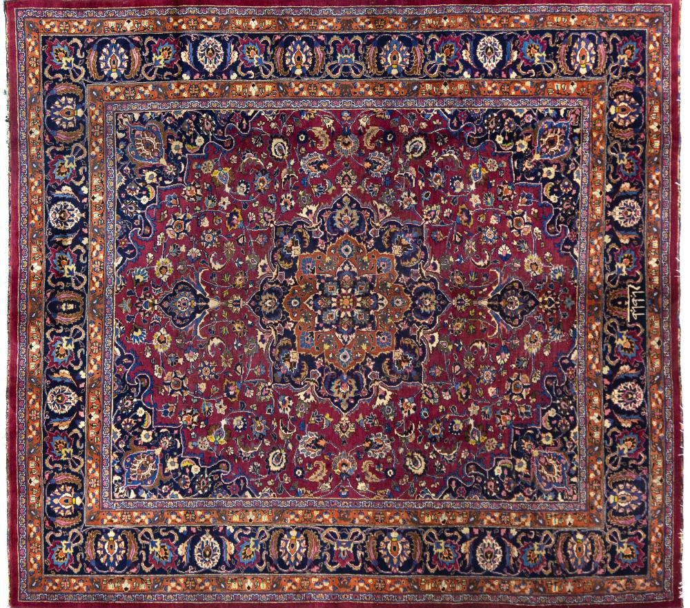 A Persian Hand Knotted Mashad Carpet, 285 x 250