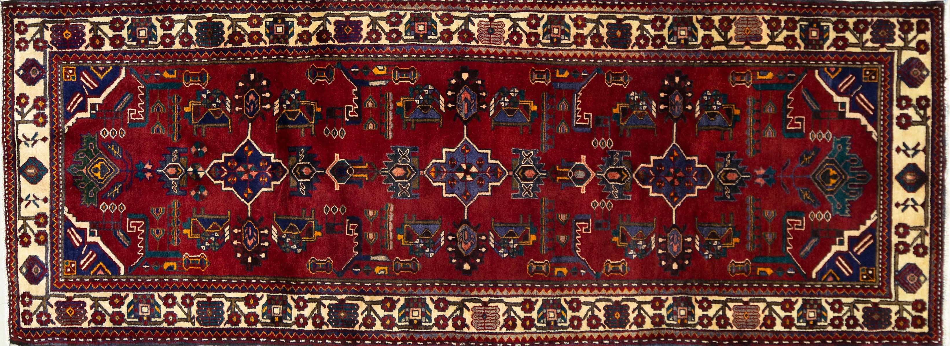 A Persian Hand Knotted Saveh Runner, 293 x 105