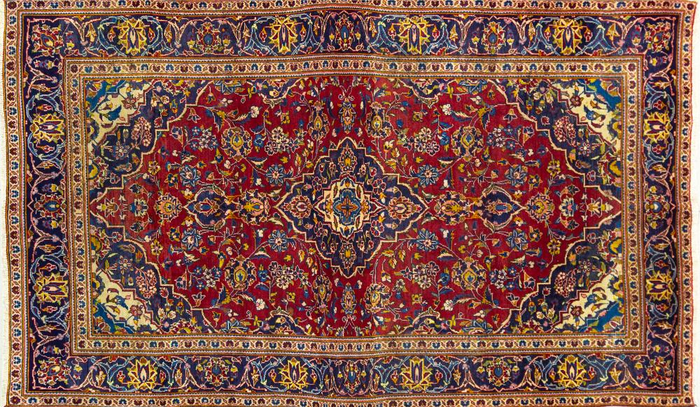 A Persian Hand Knotted Kashan Rug, 250 x 147