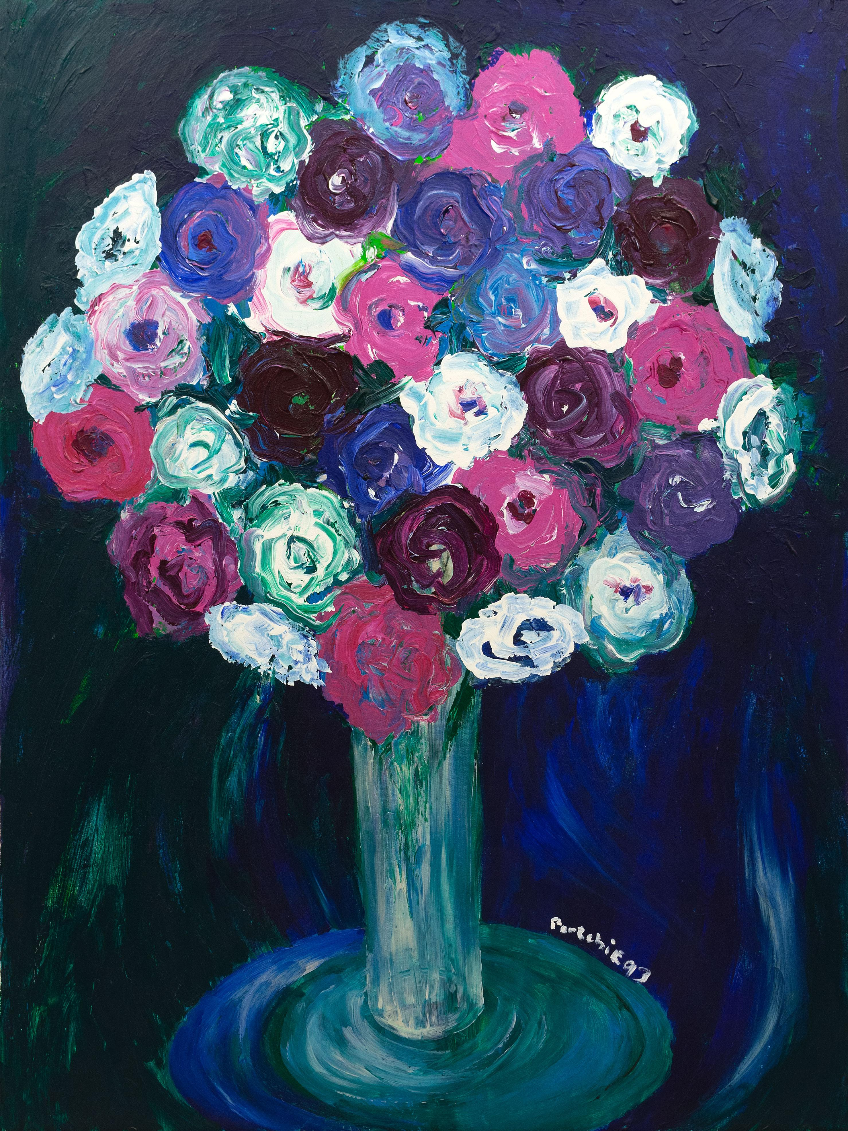 Portchie (SA, born 1963) Oil, Still Life Flowers, Signed, 122 x 90