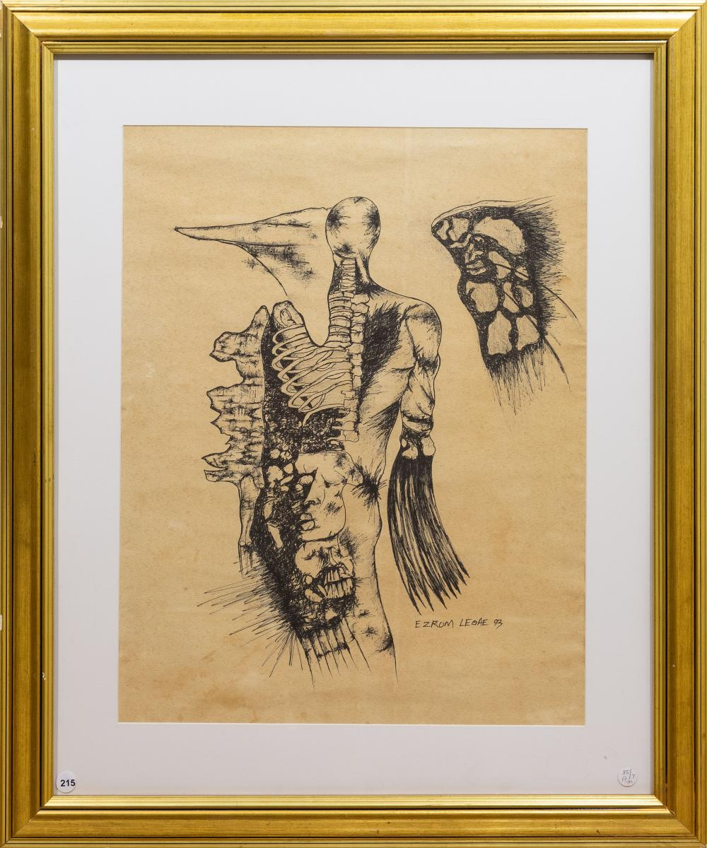 Ezrom Legae (SA 1938 - 1999) Ink, Abstract Figure, Signed & Dated '93, 61 x 47