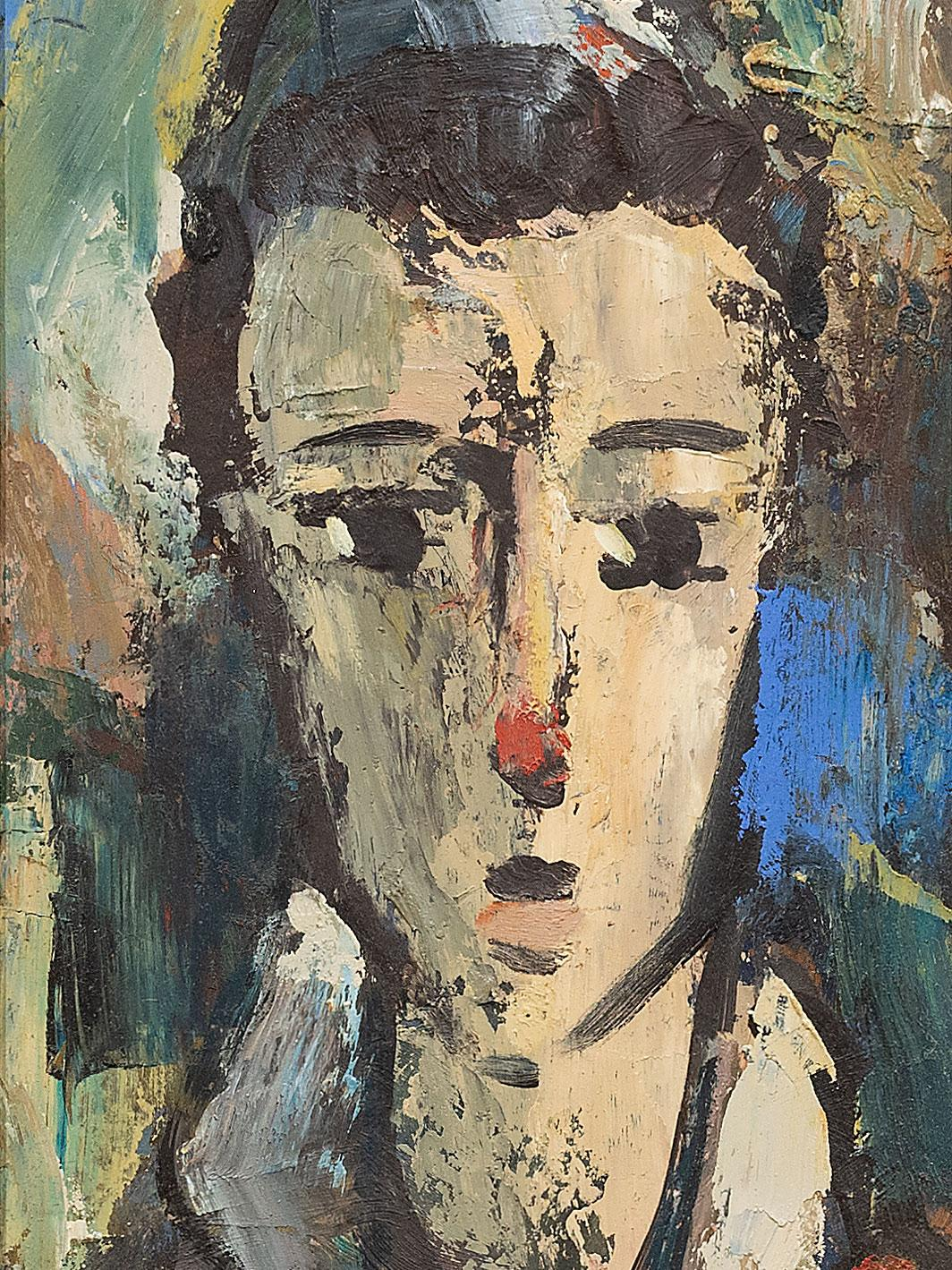 Hennie Niemann (SA, born 1941) Oil, Clown, Signed, 42 x 18
