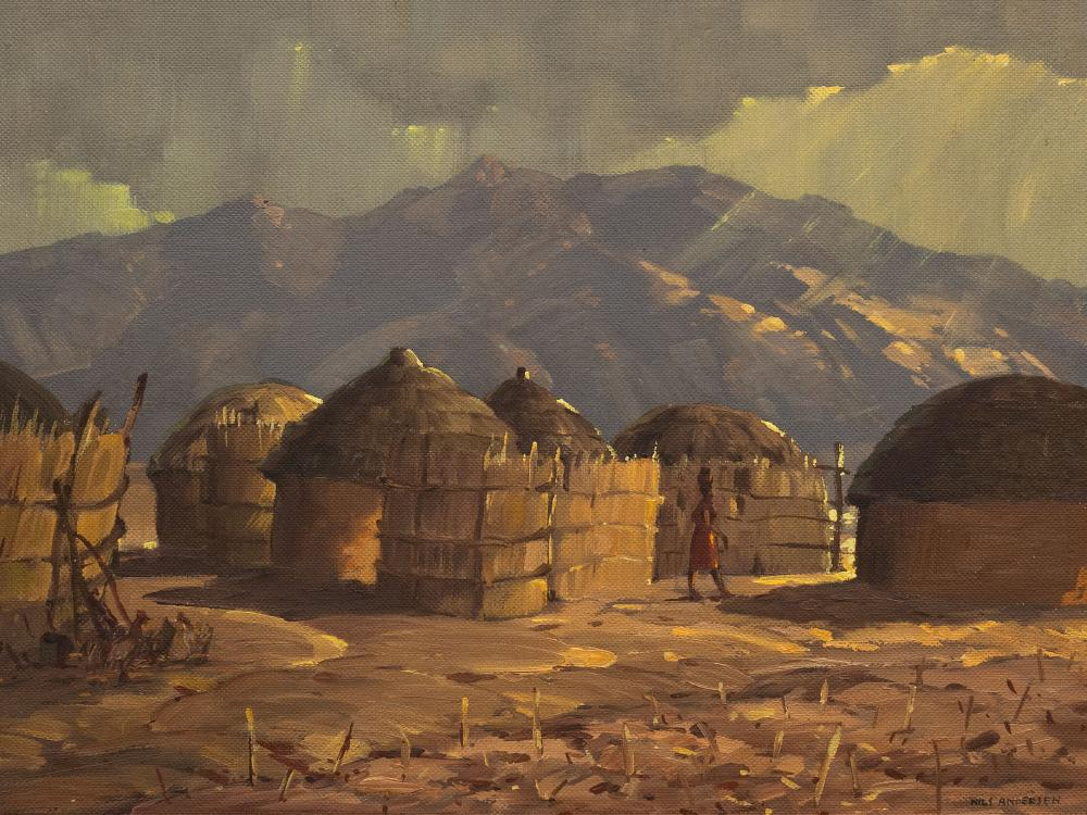 Nils Andersen (SA 1897 - 1972) Oil, Village Kraal Scene with Huts & Figure, Signed, 45 x 60