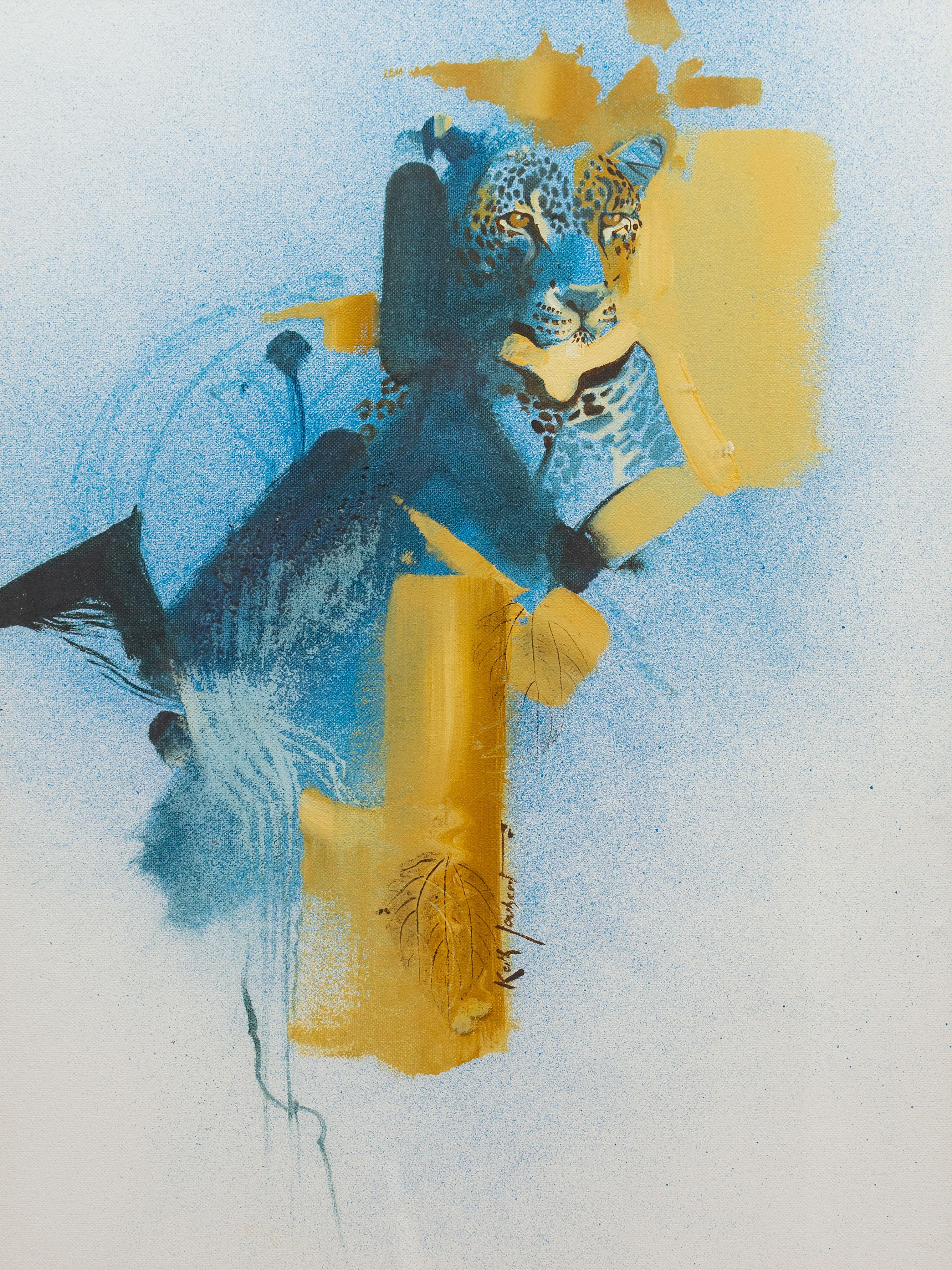 Keith Joubert (SA 1948 - 2013) Mixed Media, Leopard, Signed, 58 x 43