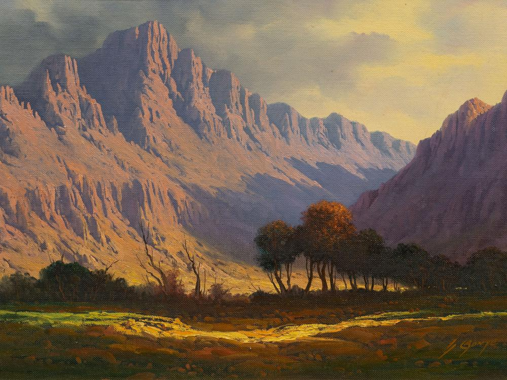 Gawie Cronje (SA 1930 - 2007) 2 x Oils, Mountain Landscapes, Signed, 55 x 80 & 35 x 50