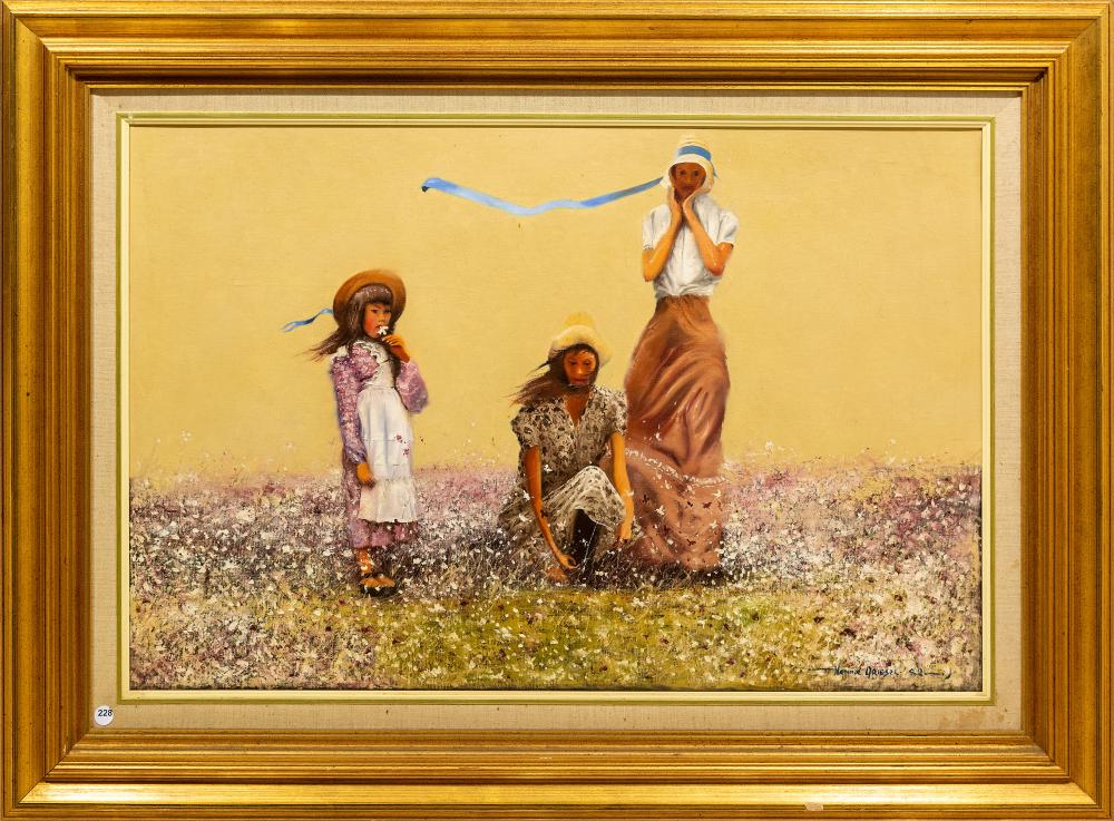 Hennie Griesel (SA 1931 - 2015) Oil, Girls in Cosmos, Signed, 60 x 90