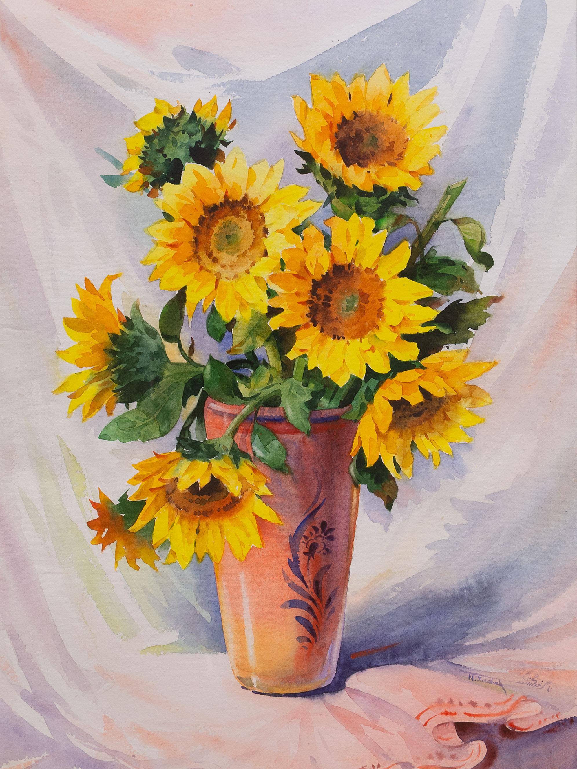 Zadeh (SA, born 1953) Watercolour, Sunflowers, Signed, 74 x 53