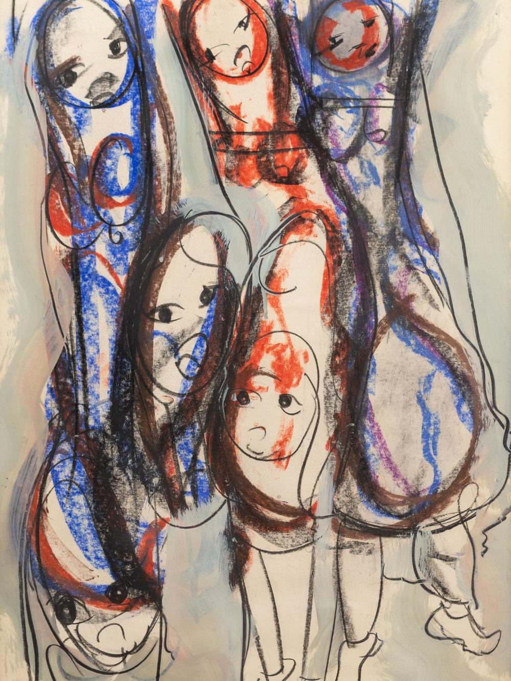 Frans Claerhout (SA 1919 - 2006) Mixed Media, Figures, Signed, 60 x 42