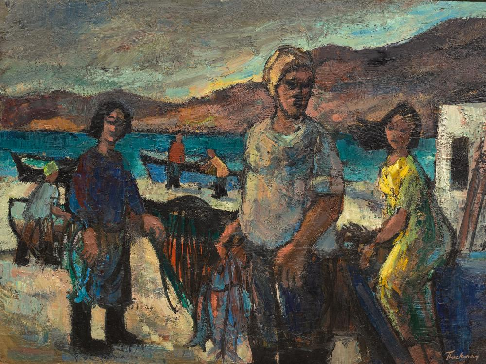 "James Thackwray (SA 1919 - 1994) Oil, ""Fishermen"", Signed Titled Verso, 45 x 60"