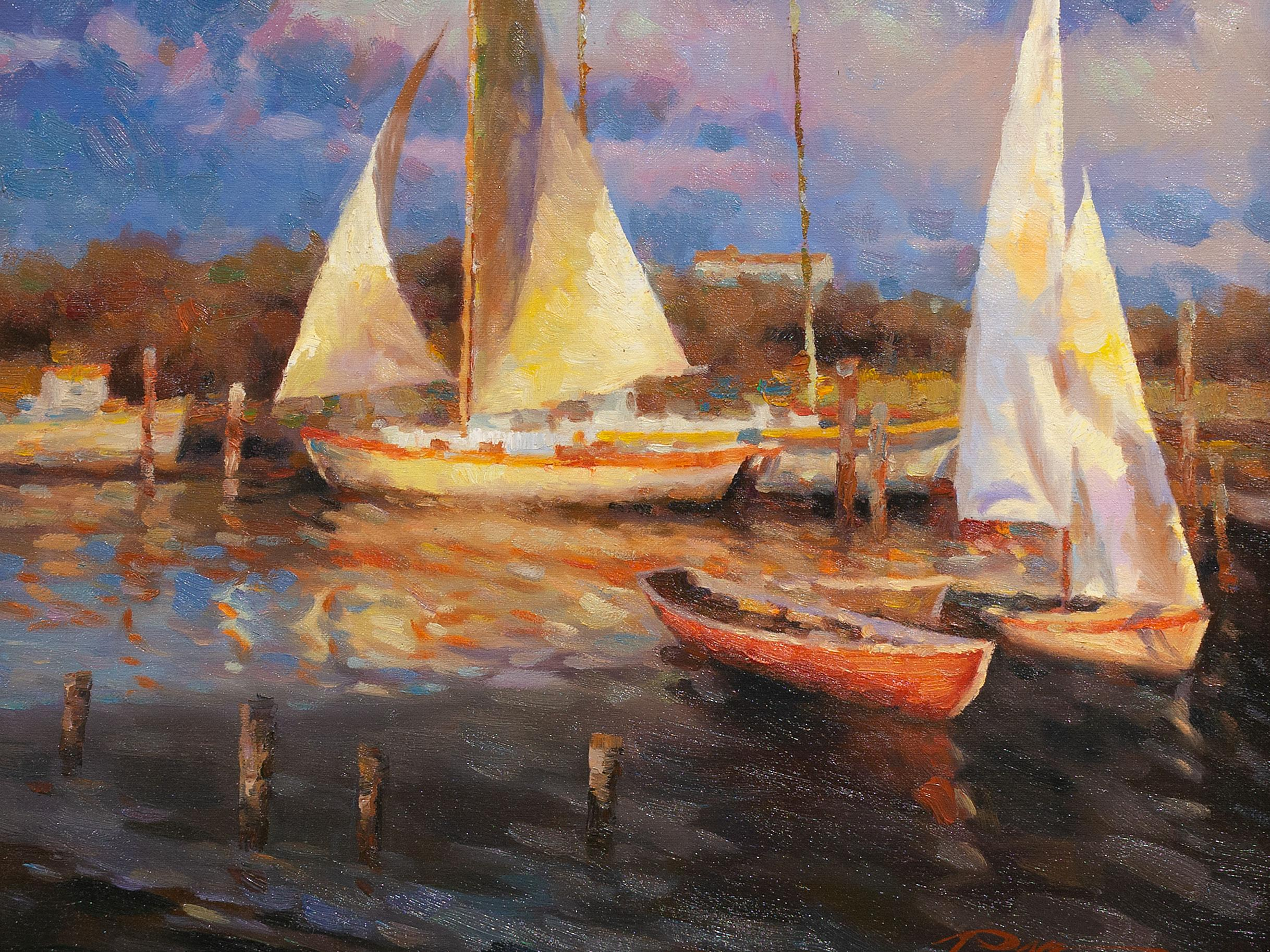 Stephen Pan (Chinese, born 1963) Oil, Sailing Boats, Signed, 40 x 50