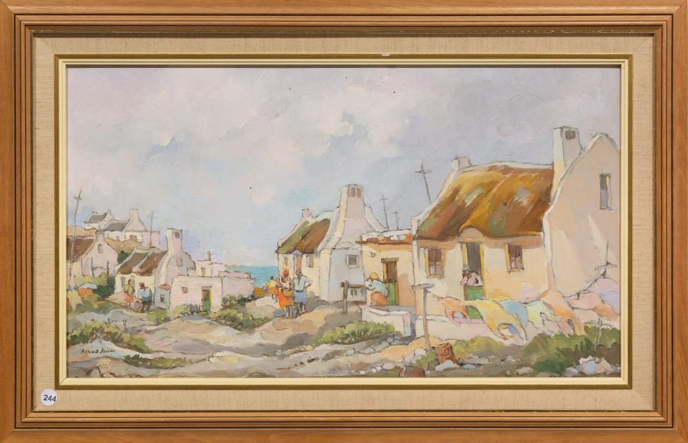 Kobus Louw (SA, born 1933) Oil ,Coastal Cottages, Signed, 38 x 67