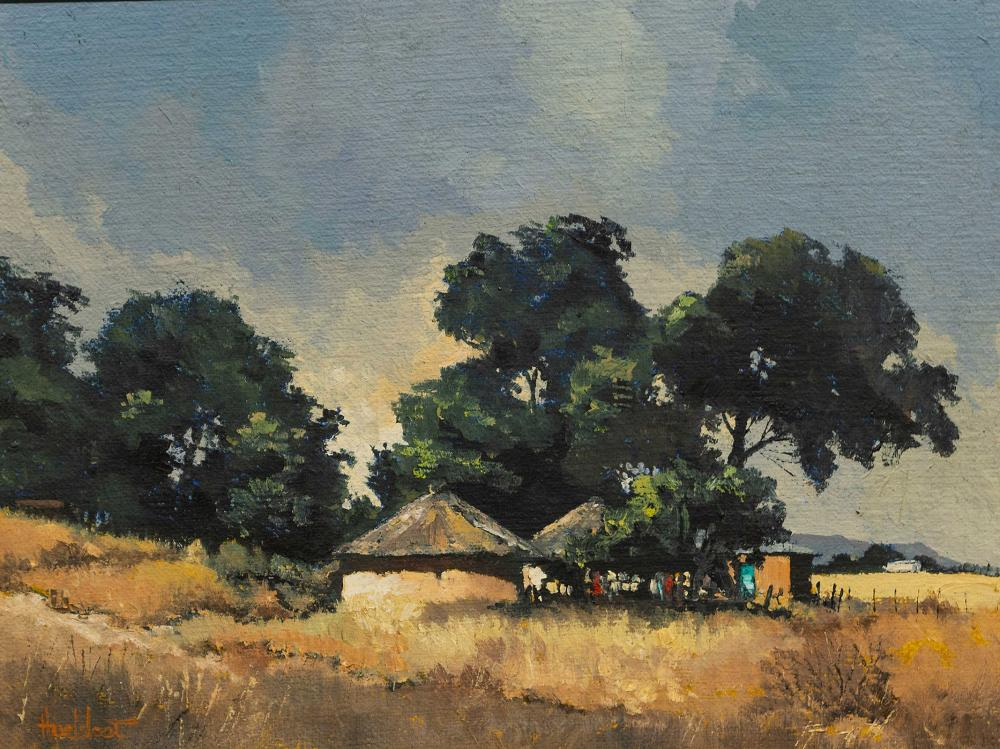 """Ted Hoefsloot (SA, born 1930) Oil, """"Huts Near Underberg"""", Signed Titled Verso, 45 x 60"""