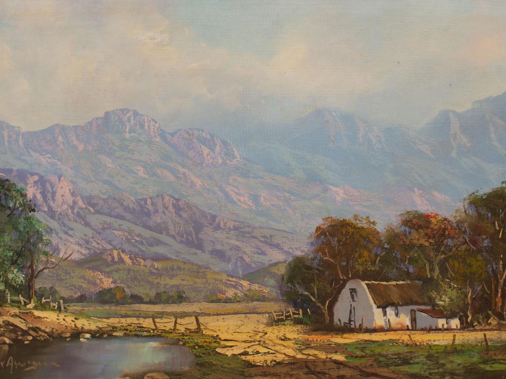 H.G. van Aswegen (SA 20th C) Oil, Farm Landscape, Signed, 50 x 75 unframed