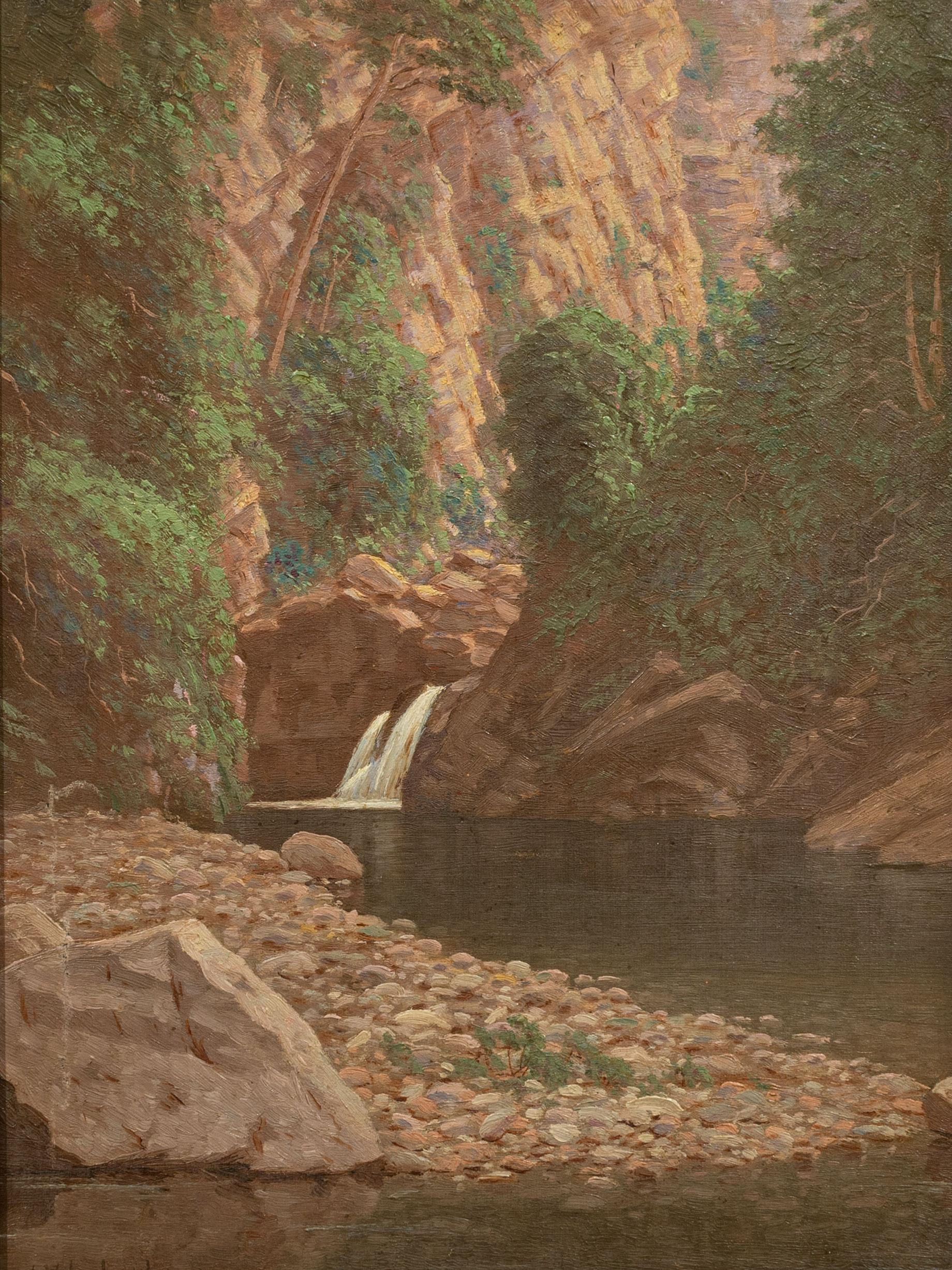 """J.E.A. Volschenk (SA 1853 - 1936) Oil, """"The Source of the Water Supply Oudtshoorn"""", Signed & Dated 1908 Titled Verso, 35 x 25"""
