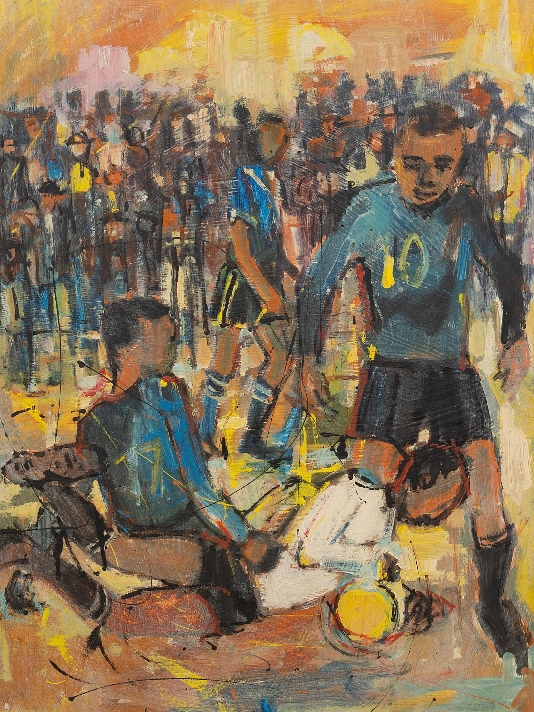 "Ephraim Ngatane (SA 1938 - 1971) Oil, Soccer Players, Signed & Dated '68 Illustrated on Page 72 of ""Ephraim Ngatane - A Setting Apart"" by Natalie Knight, Rory Bester & David Koloane, 90 x 58"
