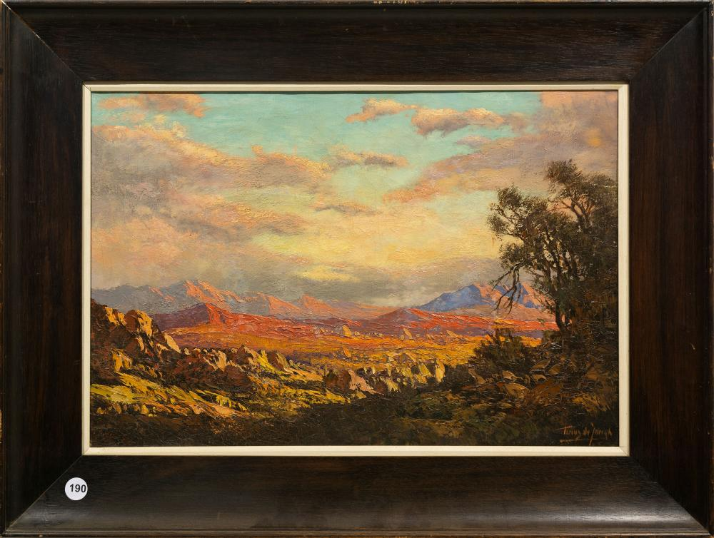Tinus de Jongh (SA 1885 - 1942) Oil, Mountain Landscape, Signed, 32 x 47