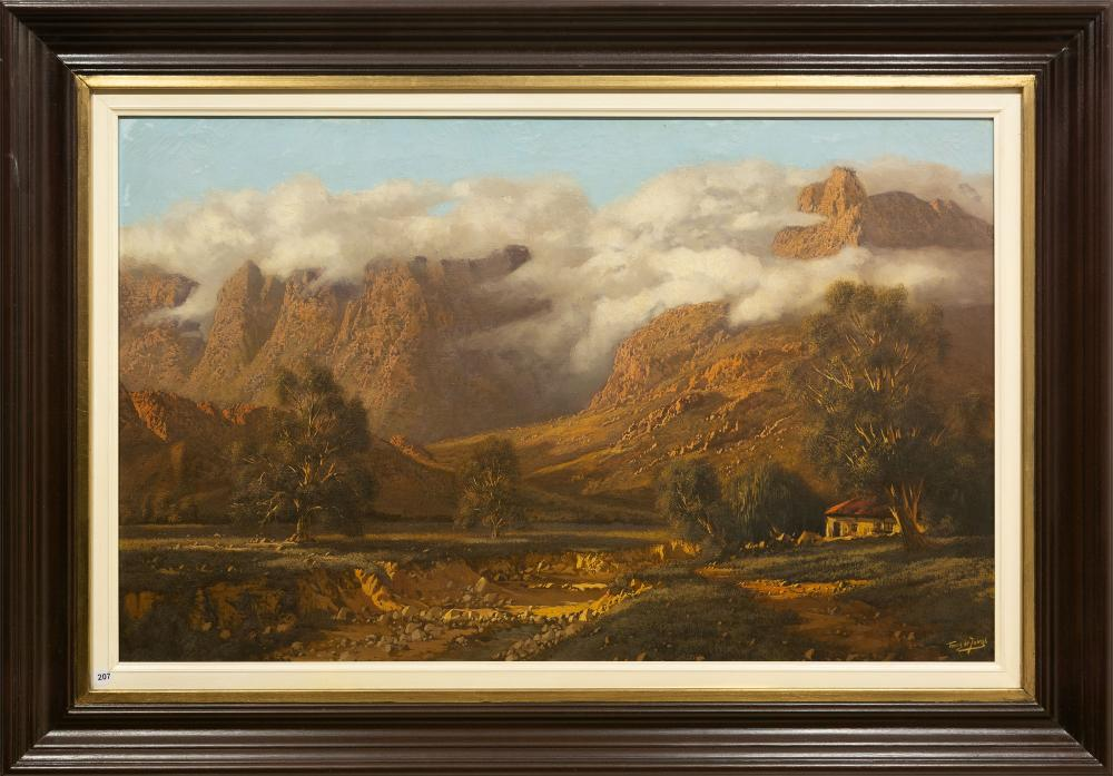 Tinus de Jongh (SA 1885 - 1942) Oil, Mountain Landscape with Cape Dutch Cottage, Signed, 62 x 100