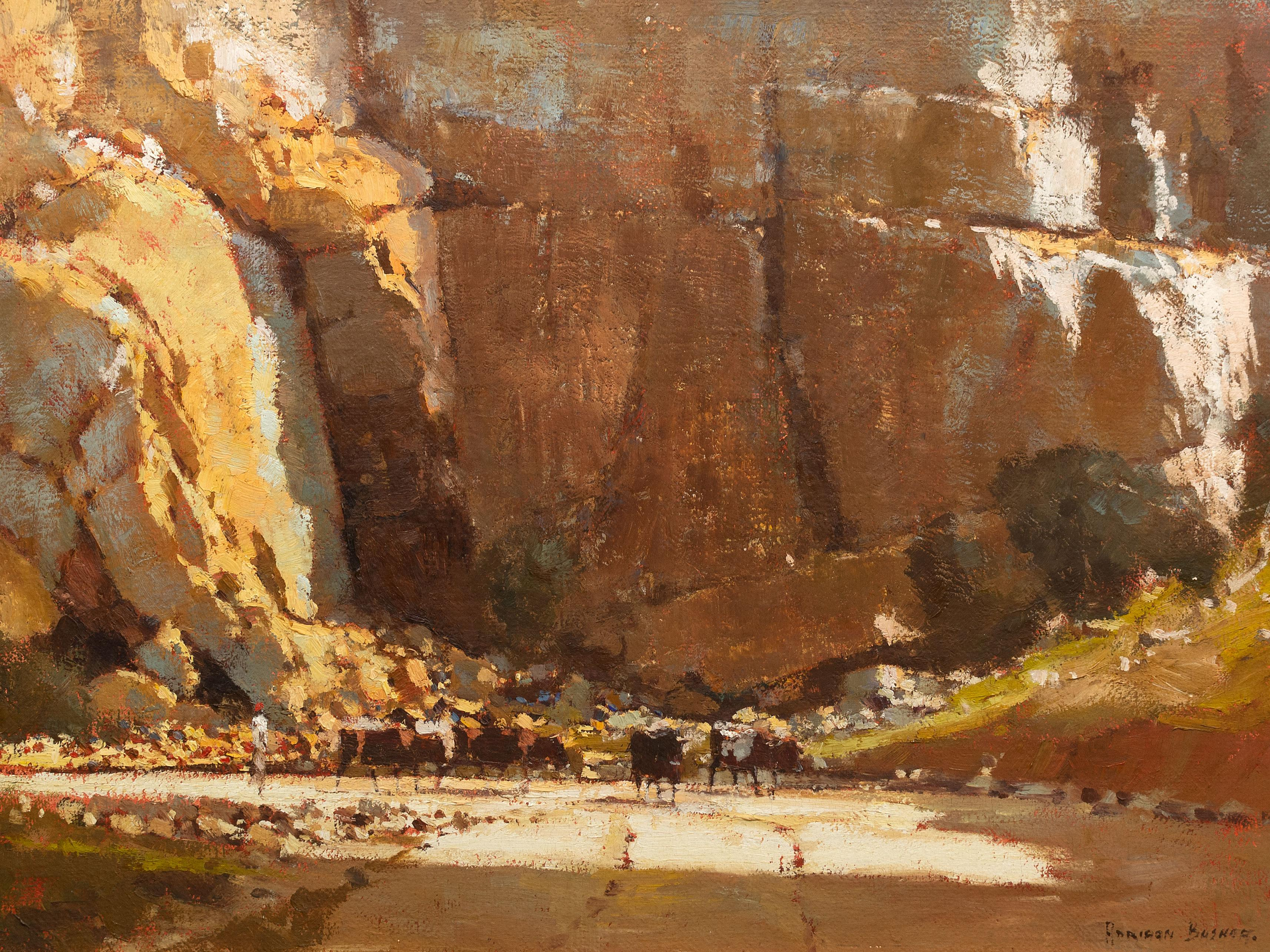 Adriaan Boshoff (SA 1935 - 2007) Oil, Cattle Being Herded Through a Gorge, Signed, 60 x 90