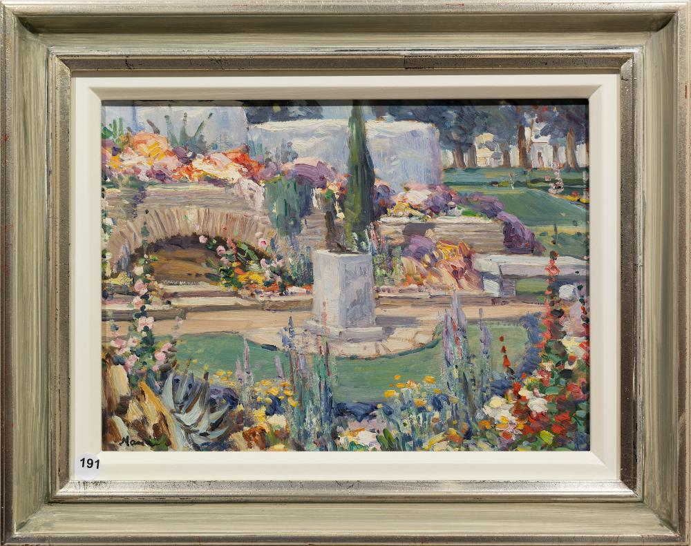 Hugo Naude (SA 1868 - 1941) Oil, The Garden of Remembrance Worcester, Signed, 25 x 35