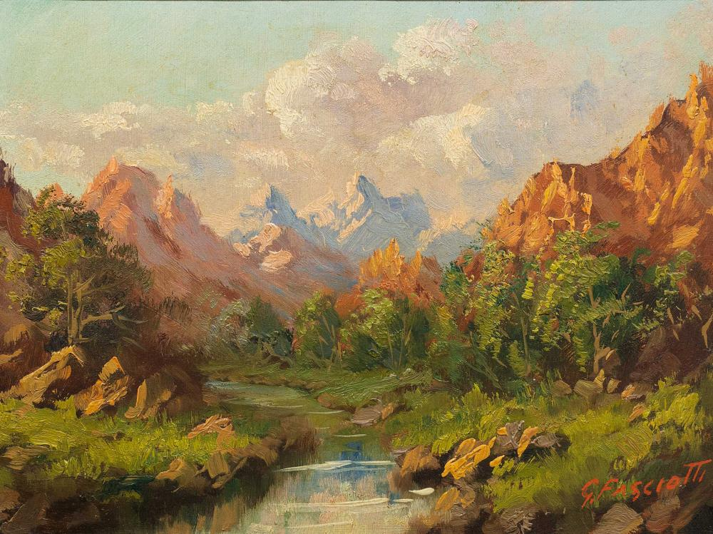 Giovanni Fasciotti (SA 1883 - 1961) 2 x Oils, Mountain Landscapes with Rivers, Signed, 20 x 27 each