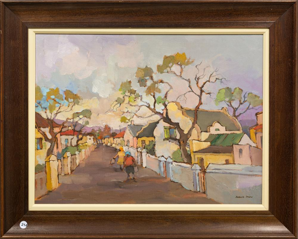 Kobus Louw (SA, born 1933) Oil, Cape Street Scene, Signed, 45 x 60