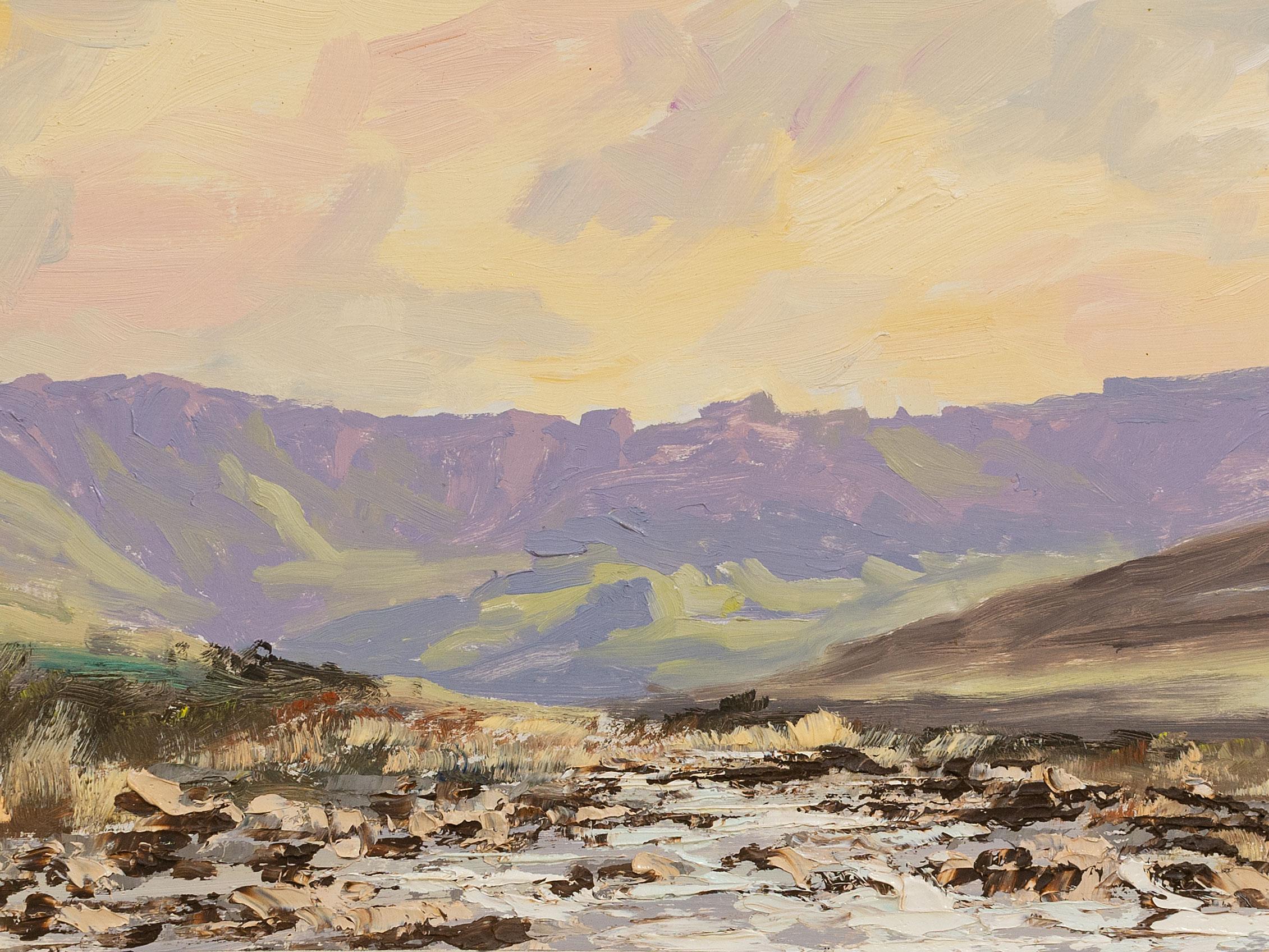 Pieter van Blommestein (SA 20th C) Oil, Drakensberg Amphitheatre, Signed, 27 x 69
