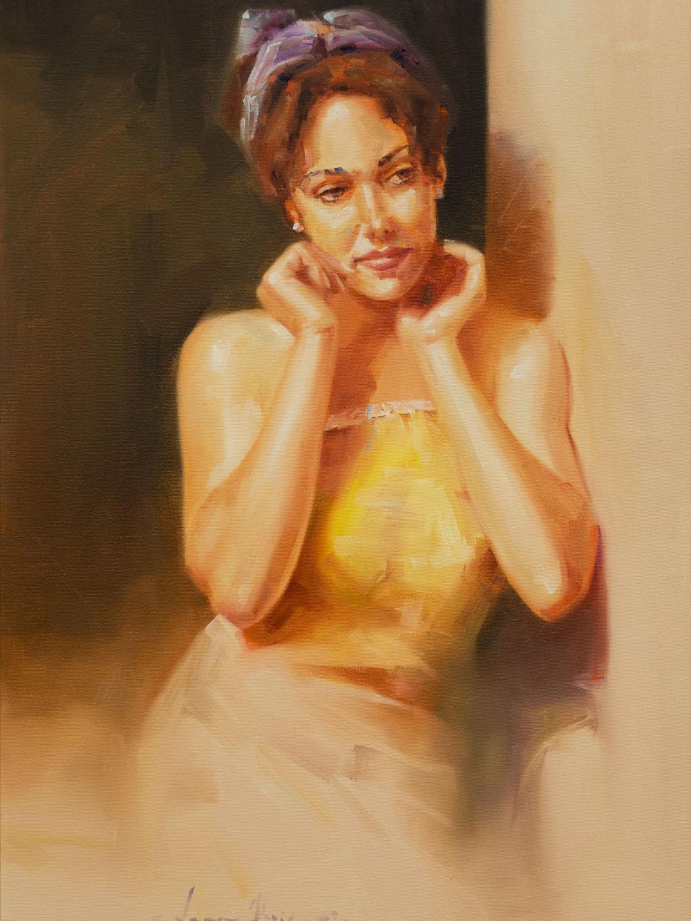 Jean Abrie (SA, born 1962) Oil, Portrait of a Girl, Signed, 58 x 39