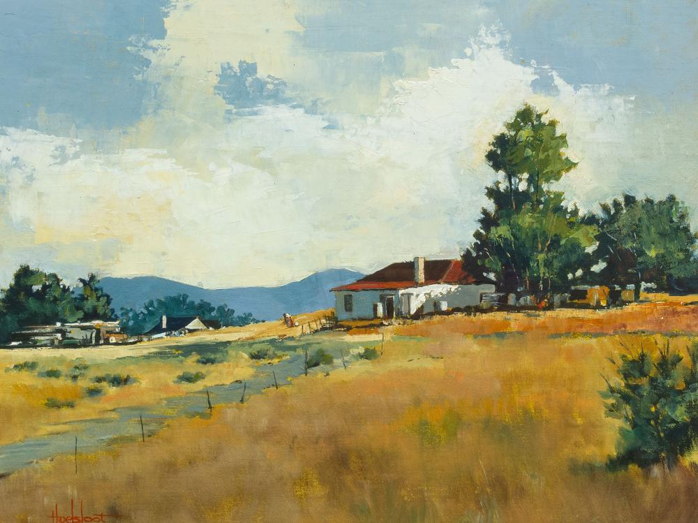 Ted Hoefsloot (SA, born 1930) Oil, Farm Landscape, Signed, 38 x 49