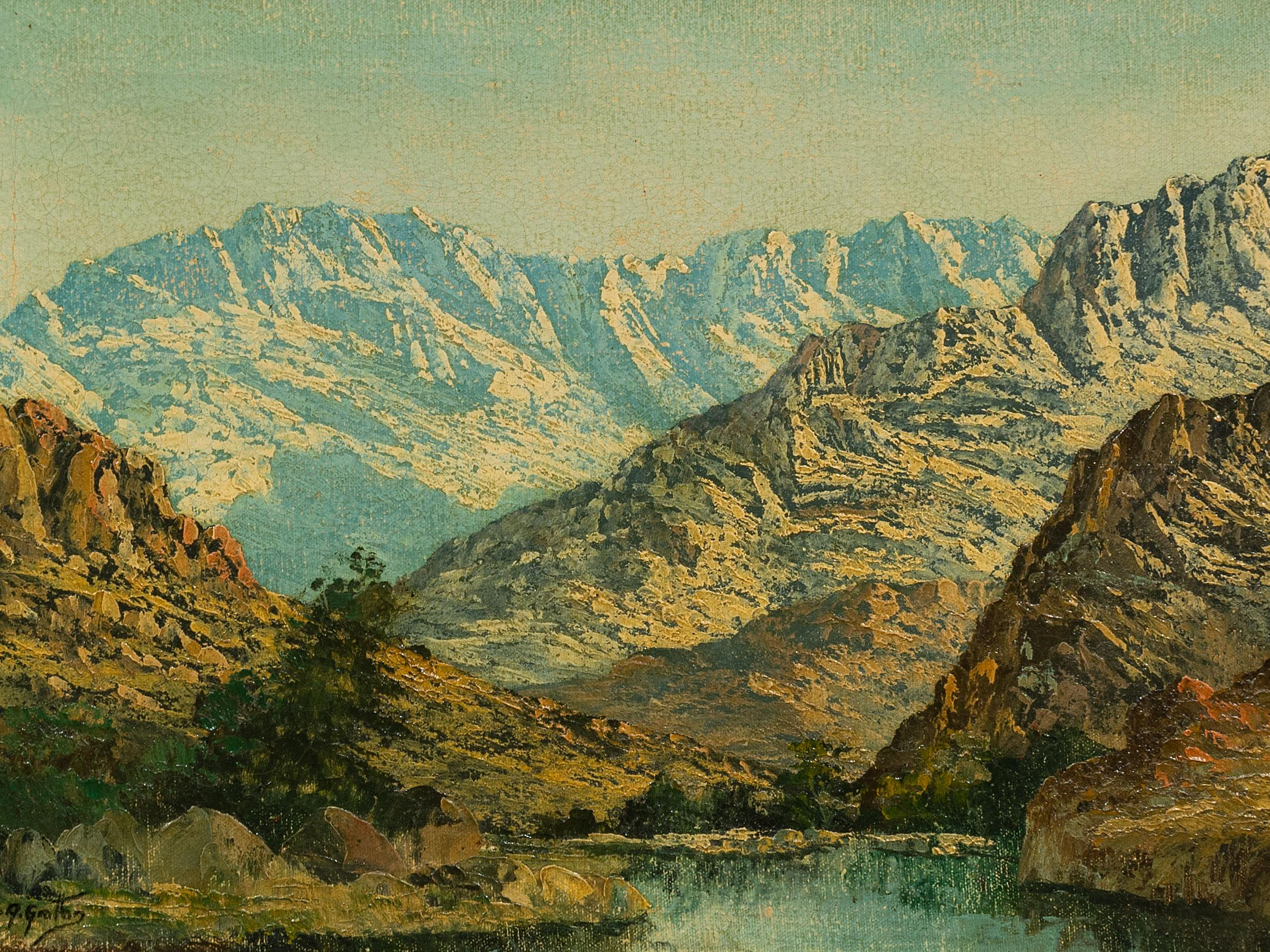 Reg Grattan (SA 20th C) Oil, Mountain Landscape with Pool, Signed, 32 x 47