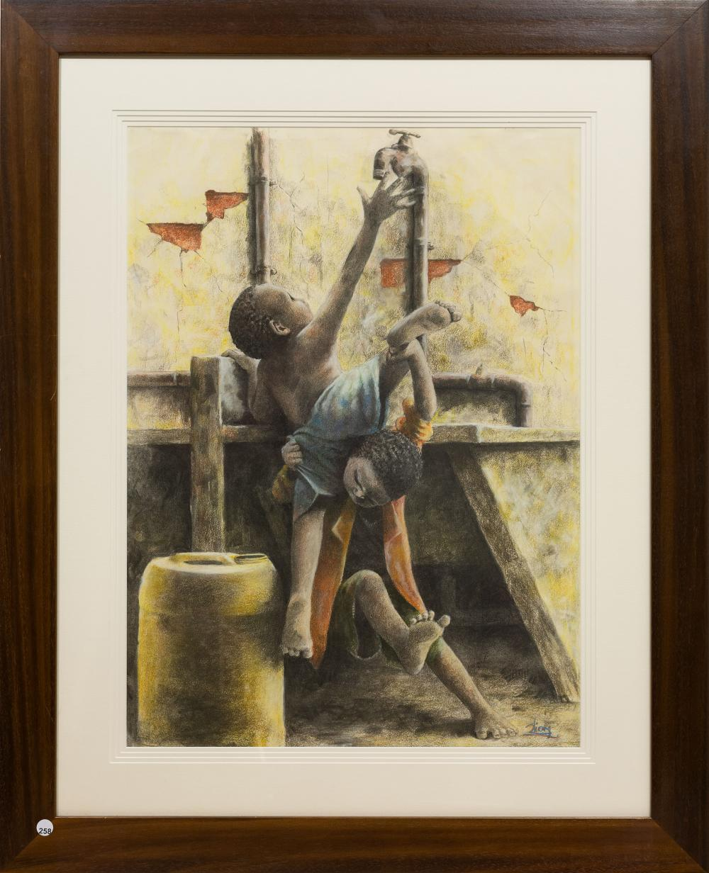 JLion (Jerry) Motau (SA 20th C) Mixed Media, Collecting Water, Signed, 75 x 55