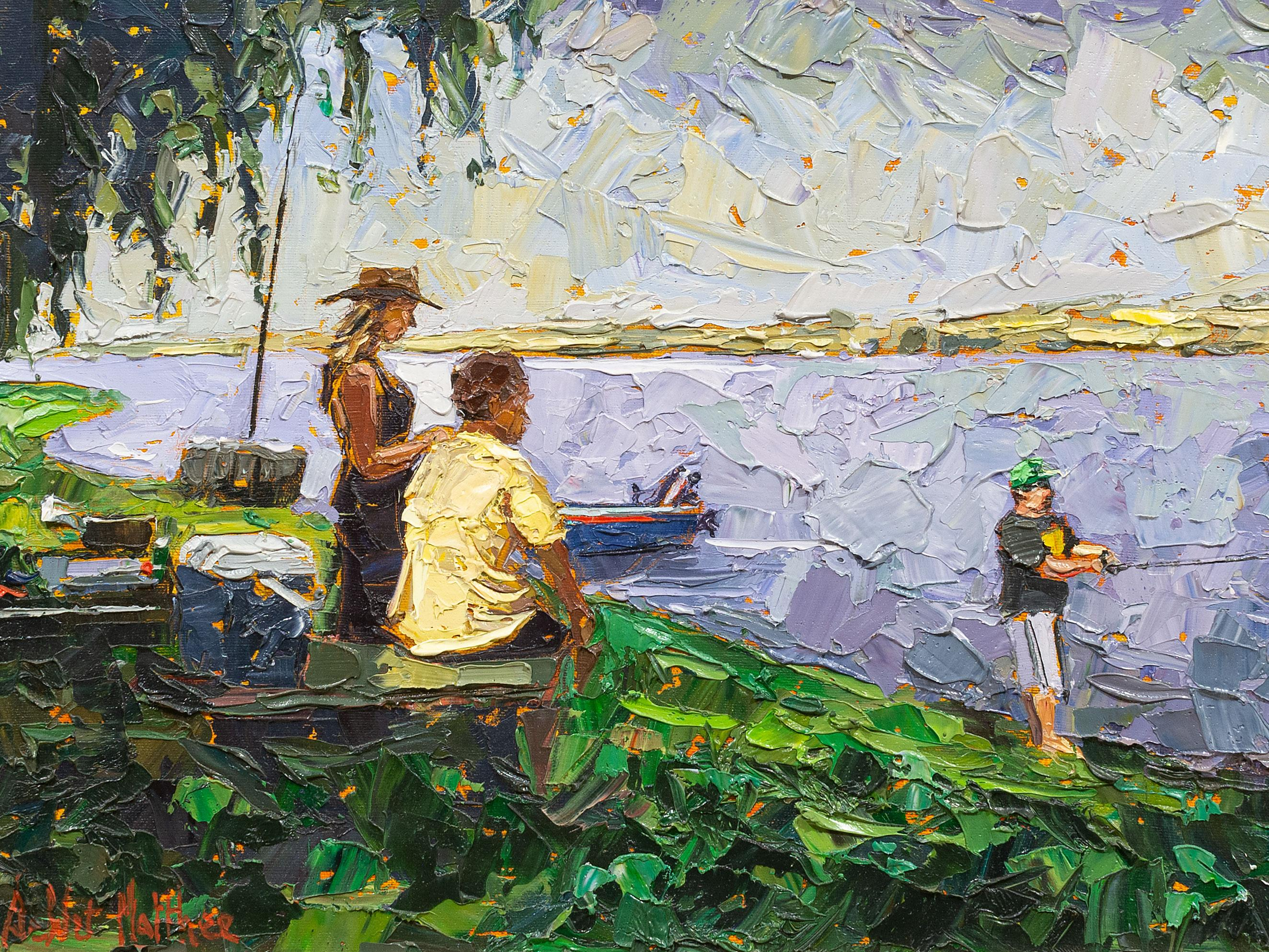 De Wet Matthee (SA, born 1979) Oil, A Day at the Dam, Signed, 32 x 45