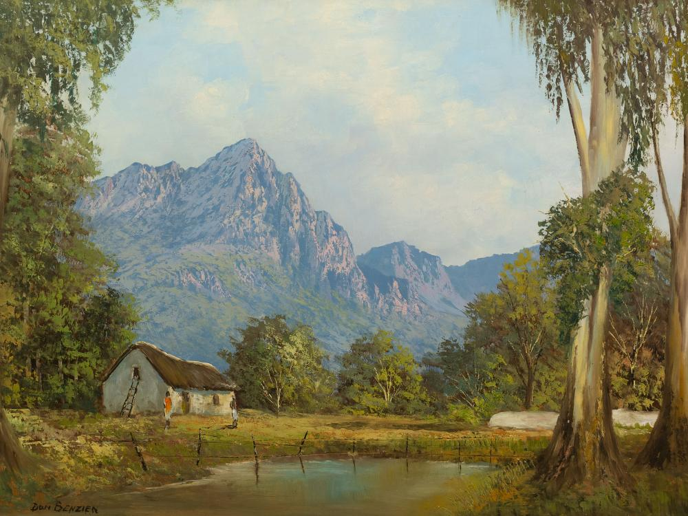 Don Benzien (SA 20th C) Oil, Mountain Landscape with Cape Dutch Cottage & Figures, Signed, 60 x 103