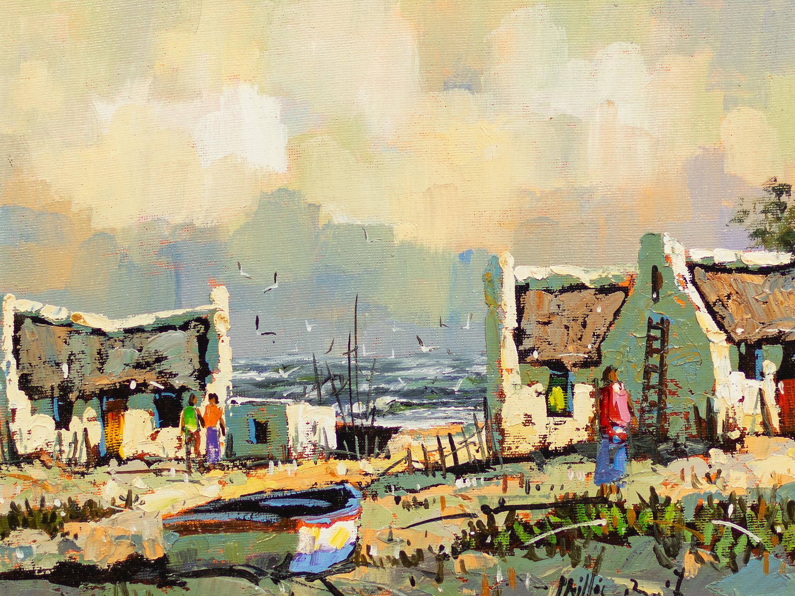 Phillip Britz (SA, born 1966) Oil, Arniston Cottages, Signed, 24 x 34