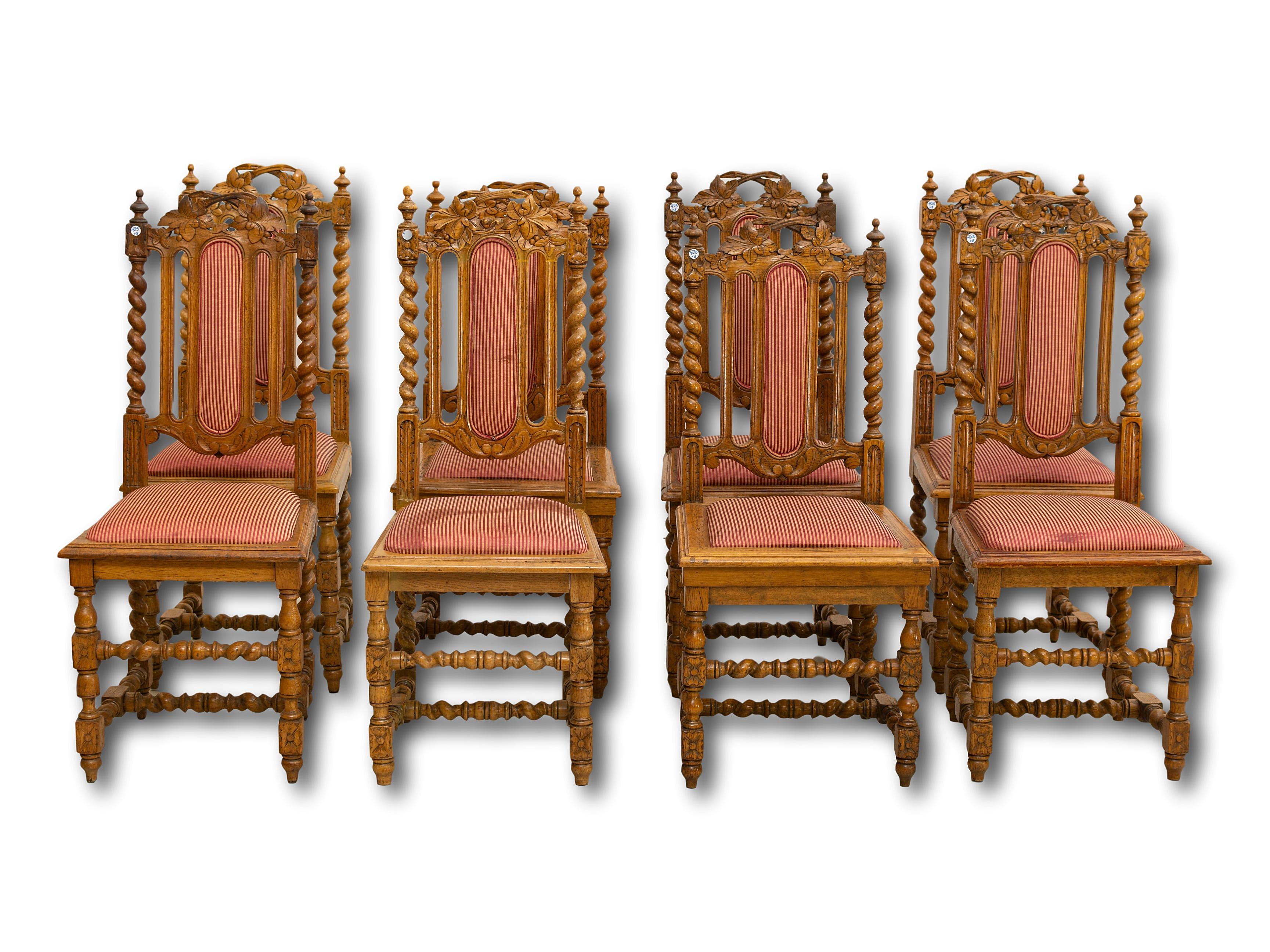 A Set of 8 Continental Oak Barley-Twist Dining Chairs, 98 x 46 x 44
