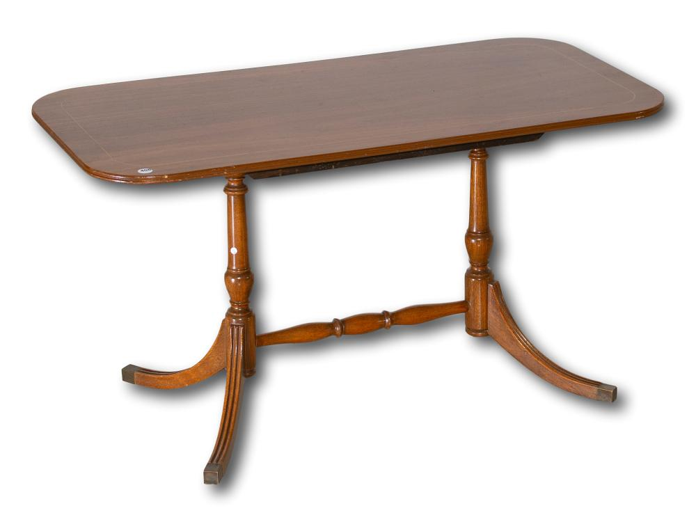 An Inlaid Mahogany Stretcher Table, 48 x 90 x 45