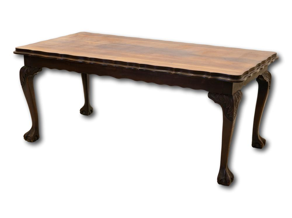 A Mid 20th Century Imbuia Ball & Claw Dining Table, 77 x 184 x 95