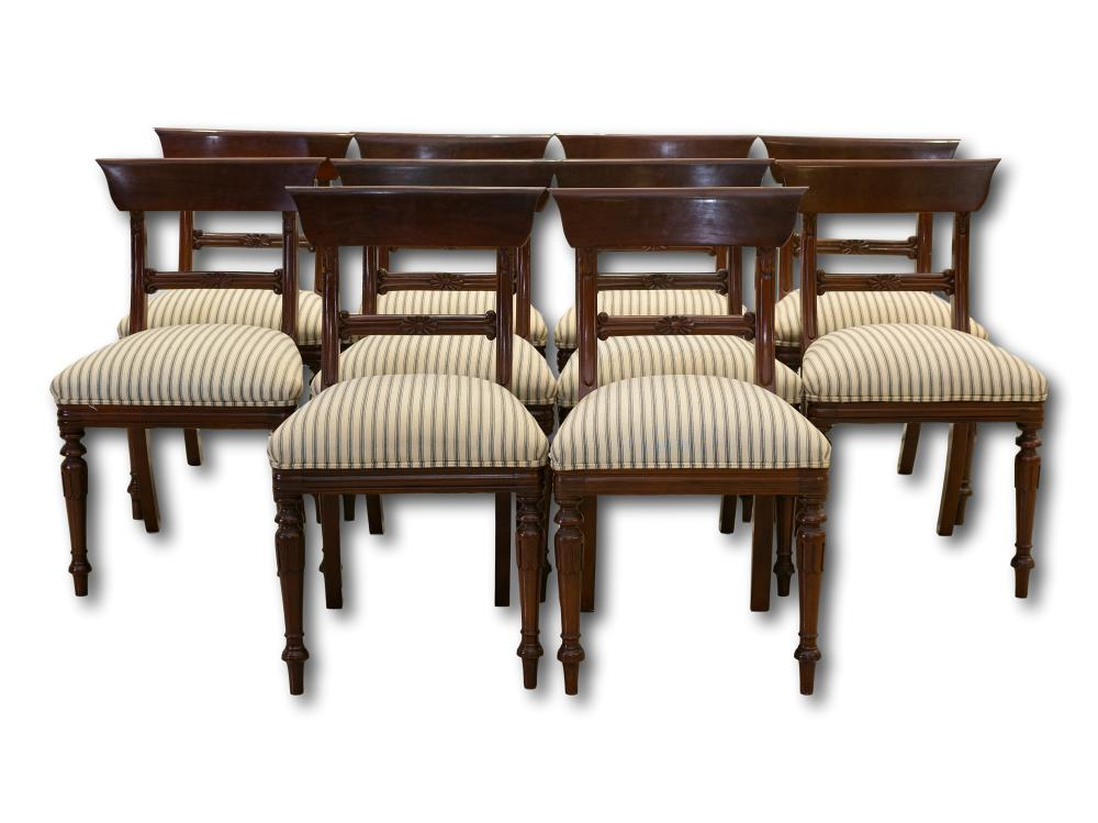 A Set of 10 Mahogany Dining Chairs, 88 x 53 x 55 each