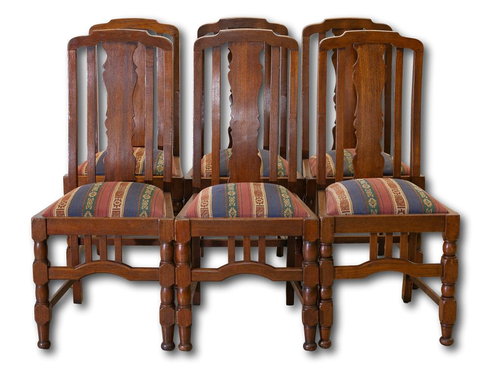 A Set of 6 Early 20th Century Oak Dining Chairs, 104 x 48 x 50 each