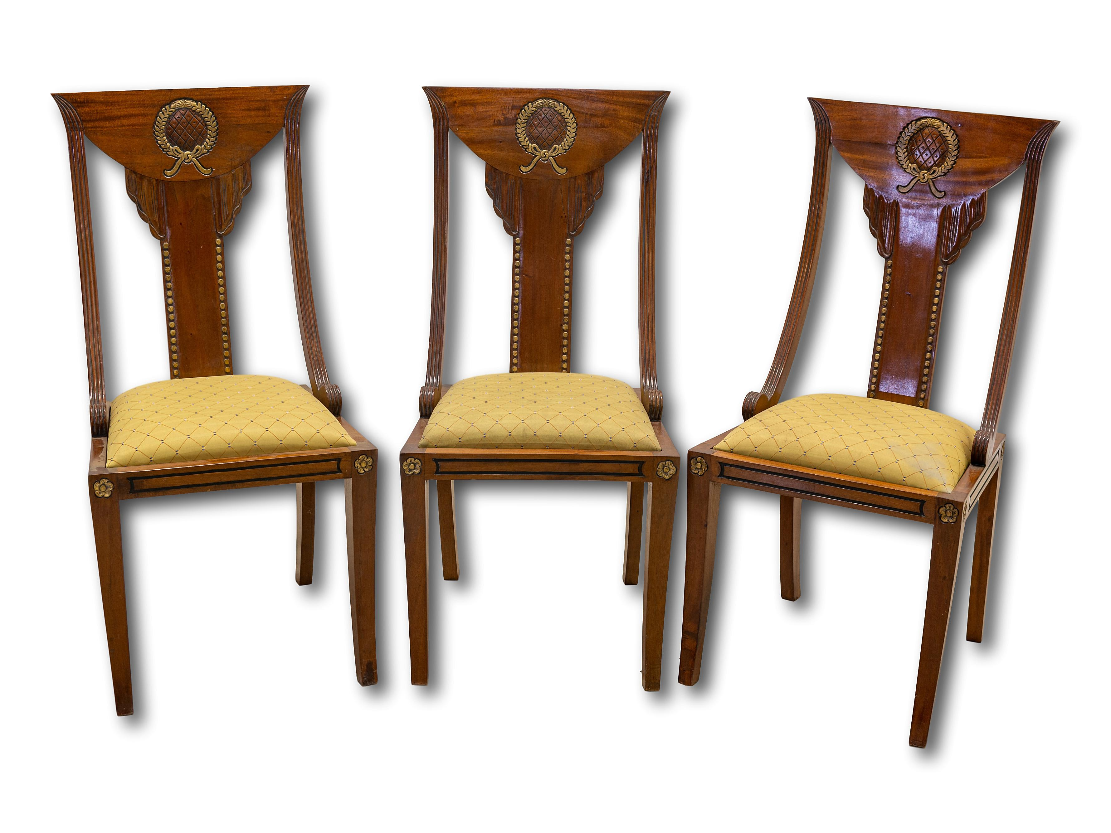 A Set of 3 Mid 20th Century Swedish Style Dining Chairs,
