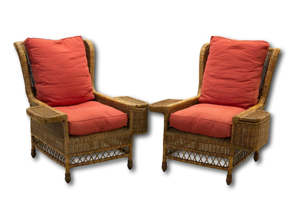A Pair of Mid 20th Century Wicker Armchairs with Arm Baskets, 102 x 100 x 102 each