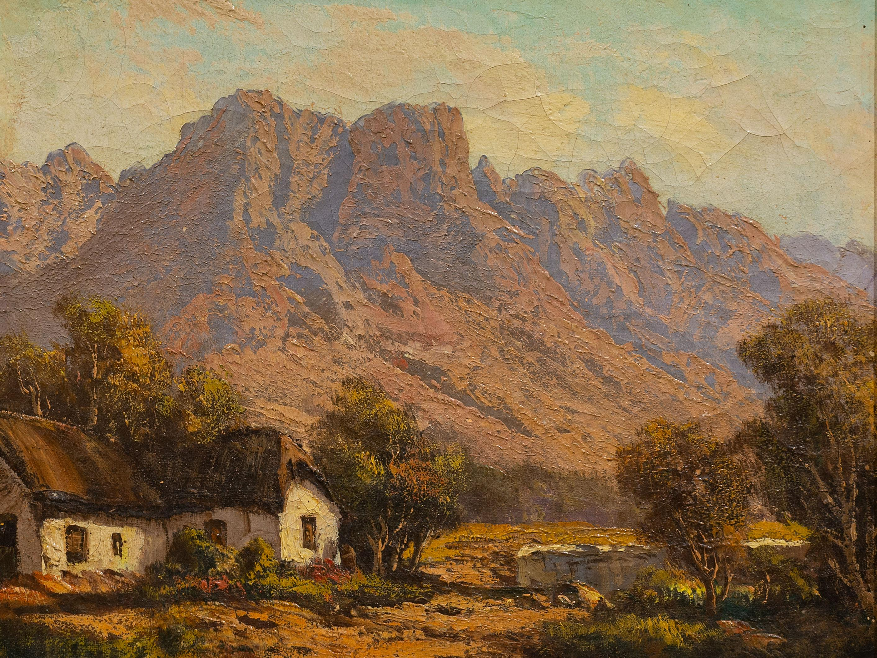 Tinus de Jongh (SA 1885 - 1942) Oil, Mountain Landscape with Cape Dutch Cottage, Signed, 25 x 30