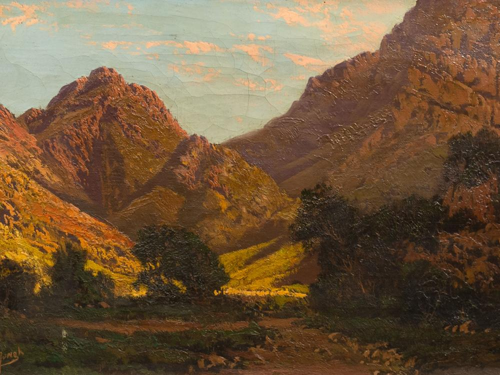 Tinus de Jongh (SA 1885 - 1942) Oil, Mountain Landscape, Signed, 30 x 50