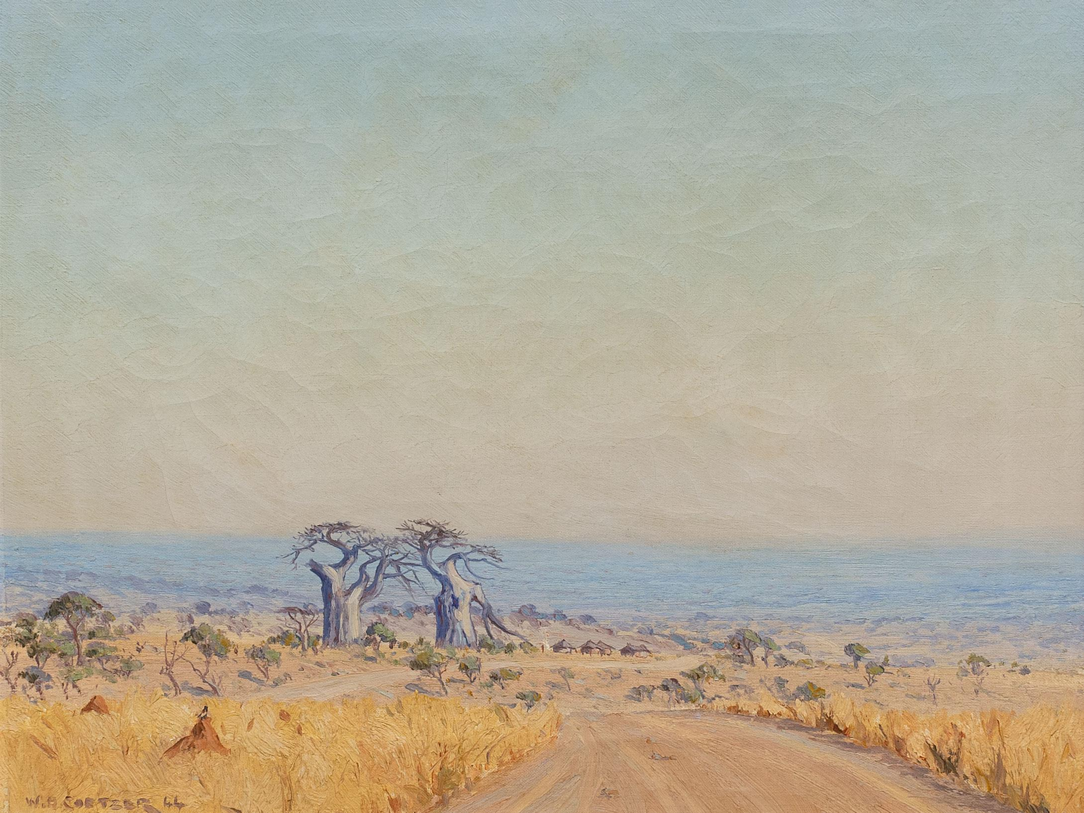 W.H. Coetzer (SA 1900 - 1983) Oil, Baobab Landscape, Signed & Dated '44, 40 x 50